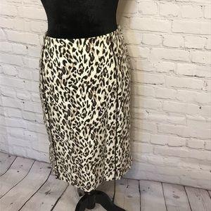 WHBM Leopard Print Pencil Skirt